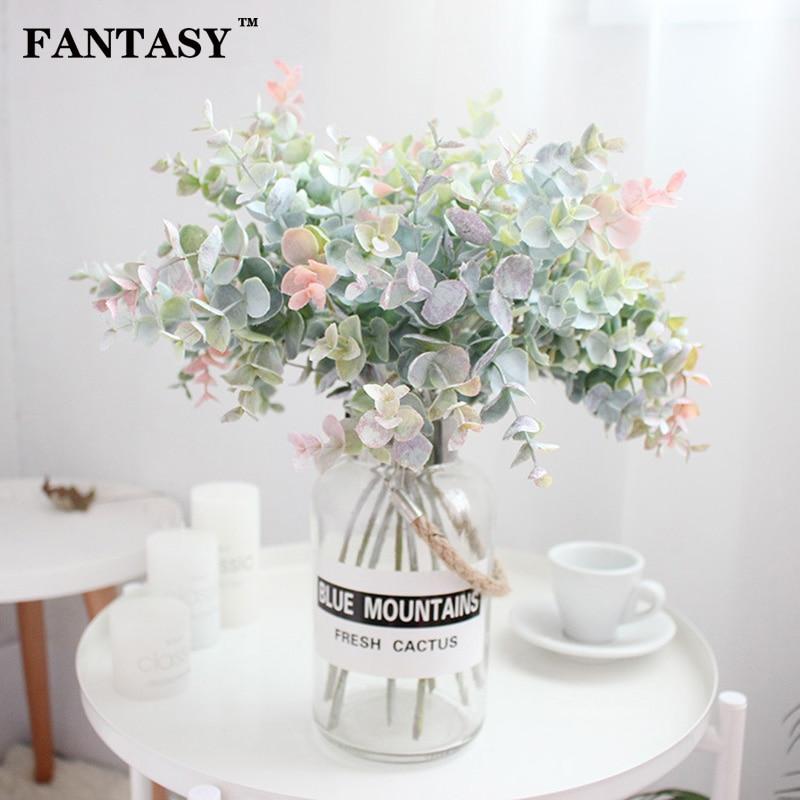 40cm 35cm Fake Eucalyptus Leaves Artificial Flower Plastic Tree Branch False Plant Bouquet Flower Arrange Home Indoor Decor