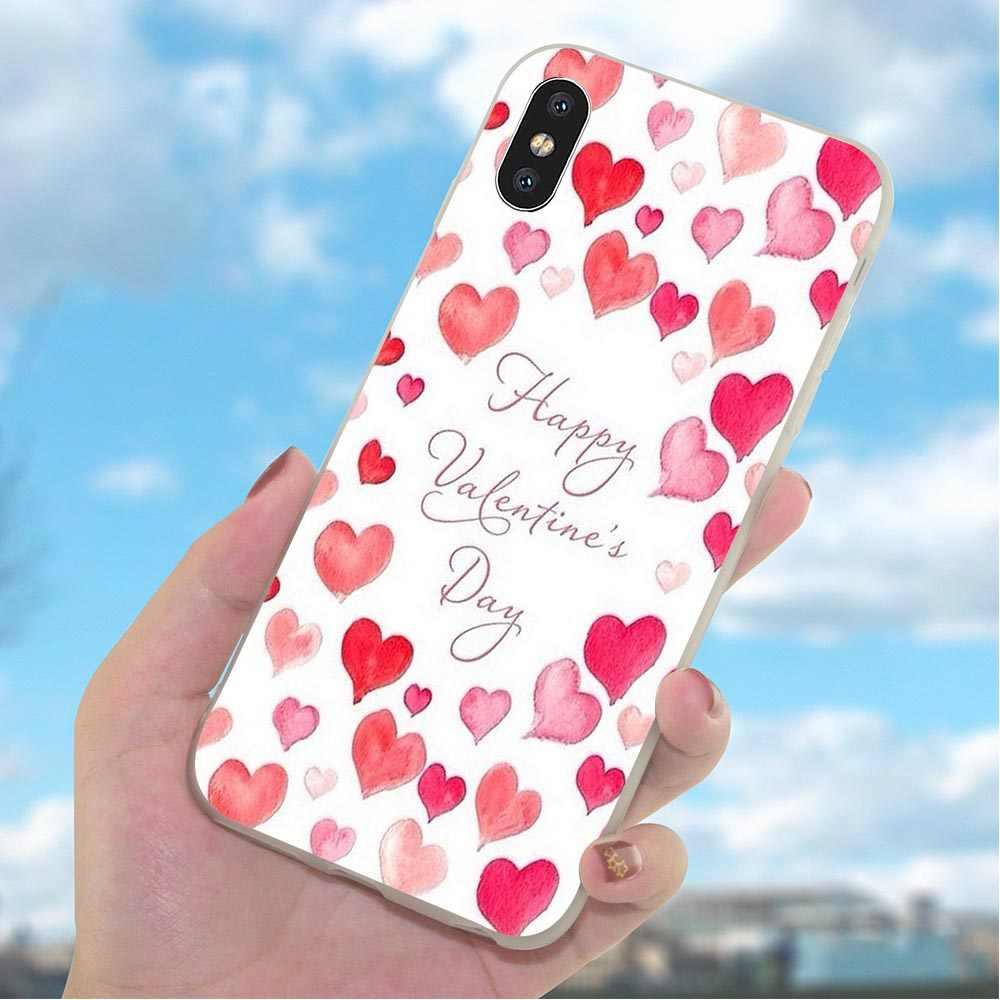 Feliz Dia Dos Namorados Caixa Do Telefone para o iphone Tampa 5S XR X 7 5 8 Plus 6 6 S SE Xs max Cobre A Pele