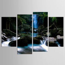 4 Pieces/set Watercolor Green Tree Waterfalls Cottage Canvas Print Poster Nordic Wall Picture Home Decor Painting Frame(China)