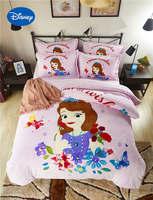 דיסני נסיכת סופיה 3D מודפס מצעי פלנל סטי תאומים מלא מיטה בגודל Queen מכסה עיצוב חדר השינה של ילדה תינוקת של צבע ורוד חם