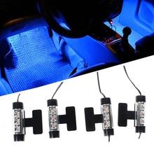 4 компл. в 1 Автомобильный интерьер декоративная атмосфера огни ноги лампы 12 В в x 3 светодио дный светящиеся лампы автомобиля Стайлинг 4 цвета