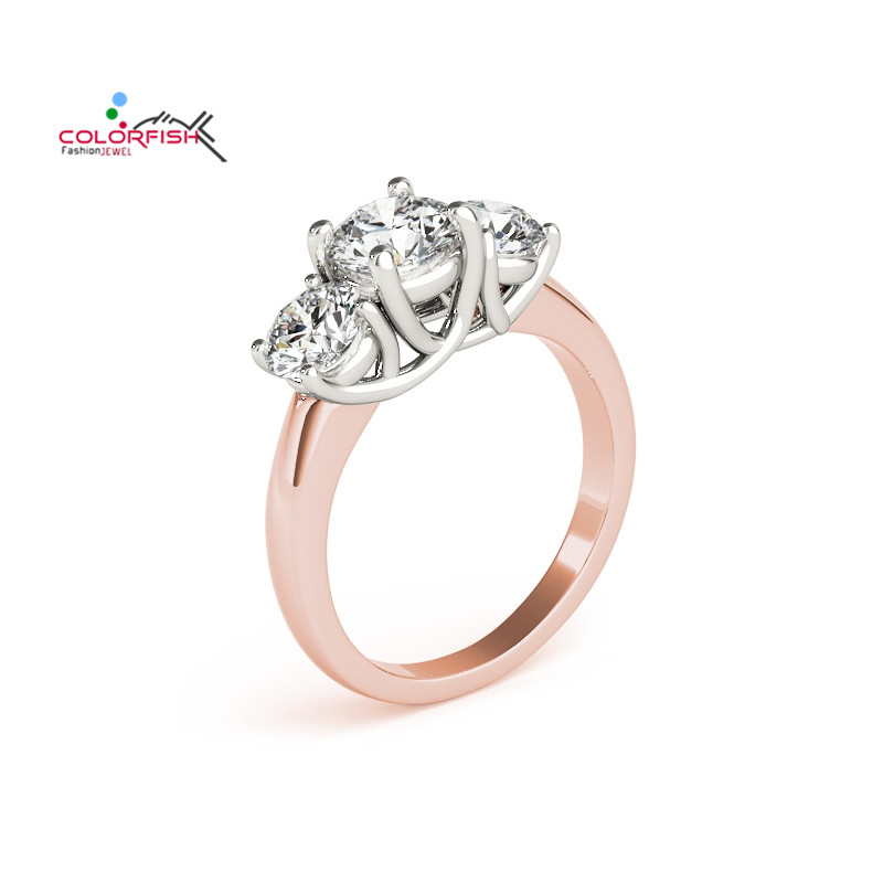 COLORFISH Round Cut Three Stone 1 ct Two Tone Engagement Ring Fashion Women Jewelry Rose Gold Filled 925 Sterling Silver Rings