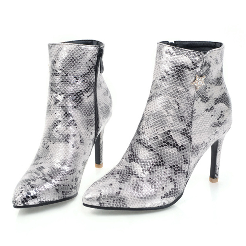Womens Stiletto Ankle Boots Ladies Zip Up Pointed Toe Biker Calf Shoe Booties