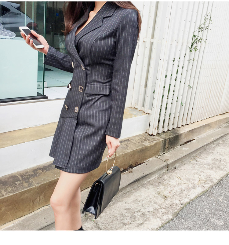 Nouveauté Ol Tempérament breasted Froissée Robes Slim Rayures Photo Double 2019 Coréenne Robe Color 8wkO0PnX