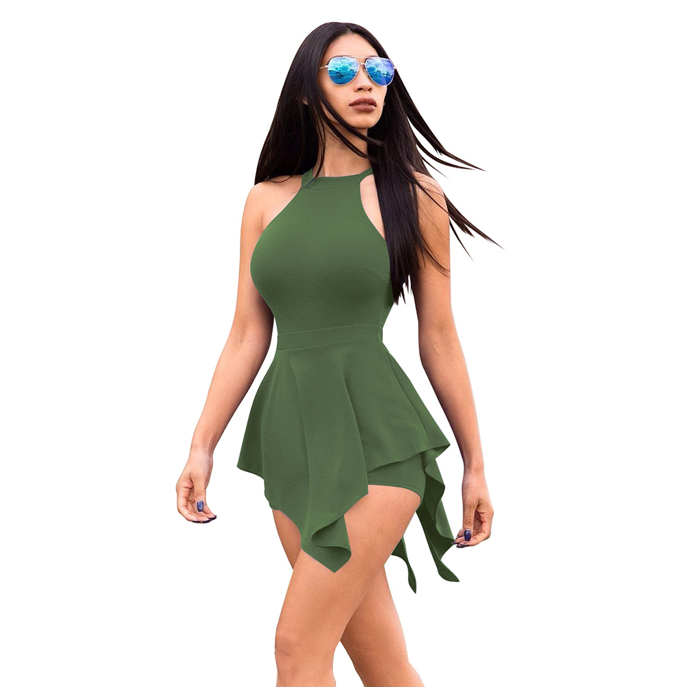 2018 Summer Pure Skinny Casual Irregular Sexy High Waist Sleeveless Women Playsuits Beach Lady Rompers 2287