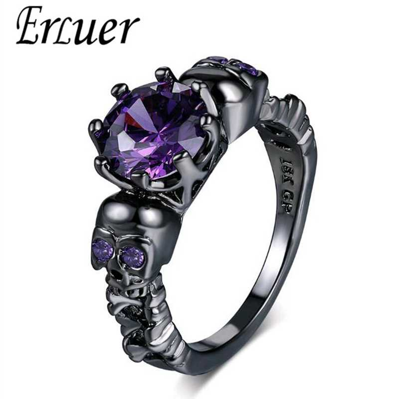 Austrian Gothic Black Gun Plated Style Retro Skull Rings For Women Purple Crystal CZ Wedding Jewelry party trendy love gift Ring