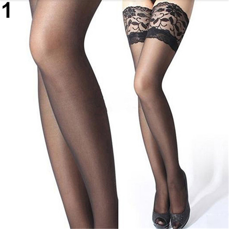 Women's Sexy Stocking Sheer Lace Top Thigh High Stockings Nets For Women Female Stockings Black White Red