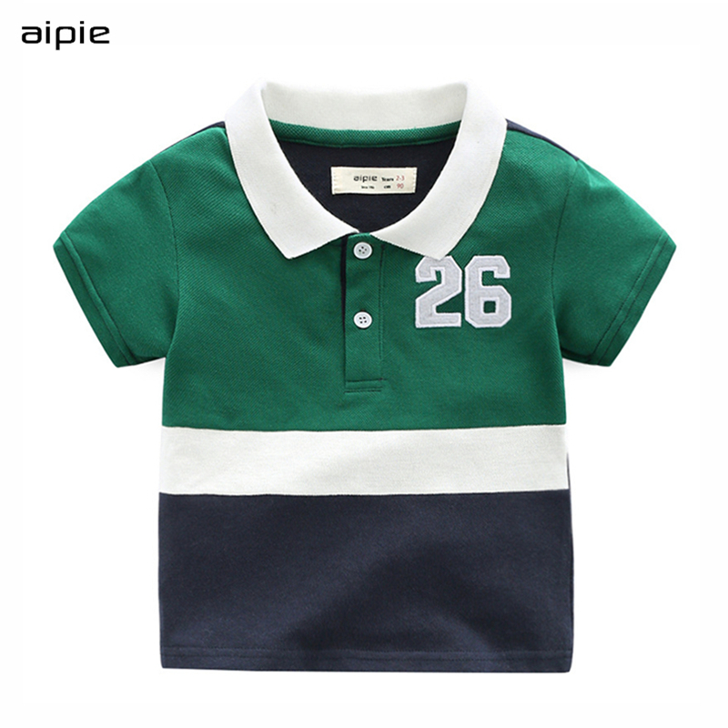 Aipie New Fashion Children Boys Polo Shirts Embroidery Letters