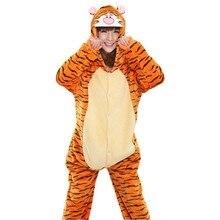 389094878c Arancione Tigre Set Pigiama Donna Uomo Unisex Adulto Animale Pigiama di  Flanella Tutina Cosplay Sleepwear Con Cappuccio Hallowee.