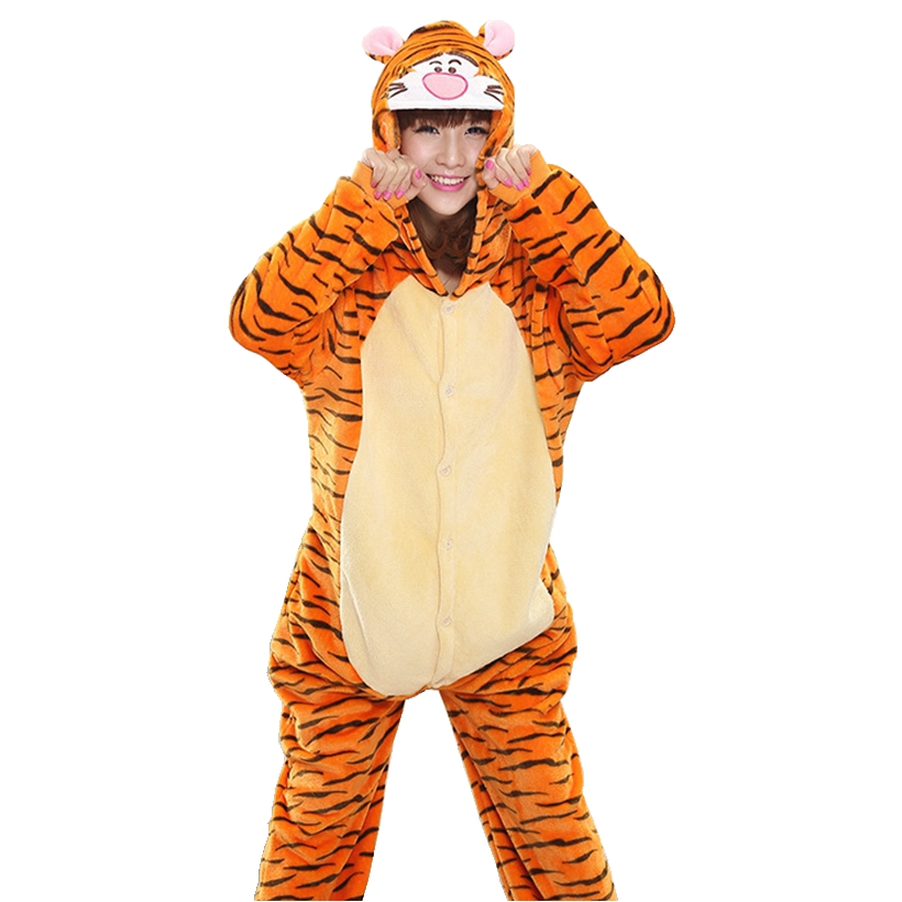 Orange Tiger   Pajama     Set   Women Men Unisex Adult Animal Pijama Flannel Onesie Cosplay Sleepwear Hoodie Halloween Holiday Costume