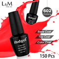 Low Price ibdgel 150 Pcs Kit Set DHL Fast Free Shipping Soak Off Gel Nail Polish Gel Nails  (130 Colors+10 Top+10 Base)