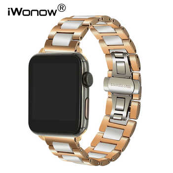 Ceramic + Stainless Steel Watchband for 38mm 42mm iWatch Apple Watch Sport Edittion Butterfly Buckle Band Wrist Strap Bracelet - DISCOUNT ITEM  30% OFF Watches