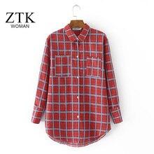 América Novas Mulheres Blusas longo-Blusa de Malha solta Camisa Xadrez de manga Longa Blusas Roupas Vestidos casuais 4XL puls tamanho