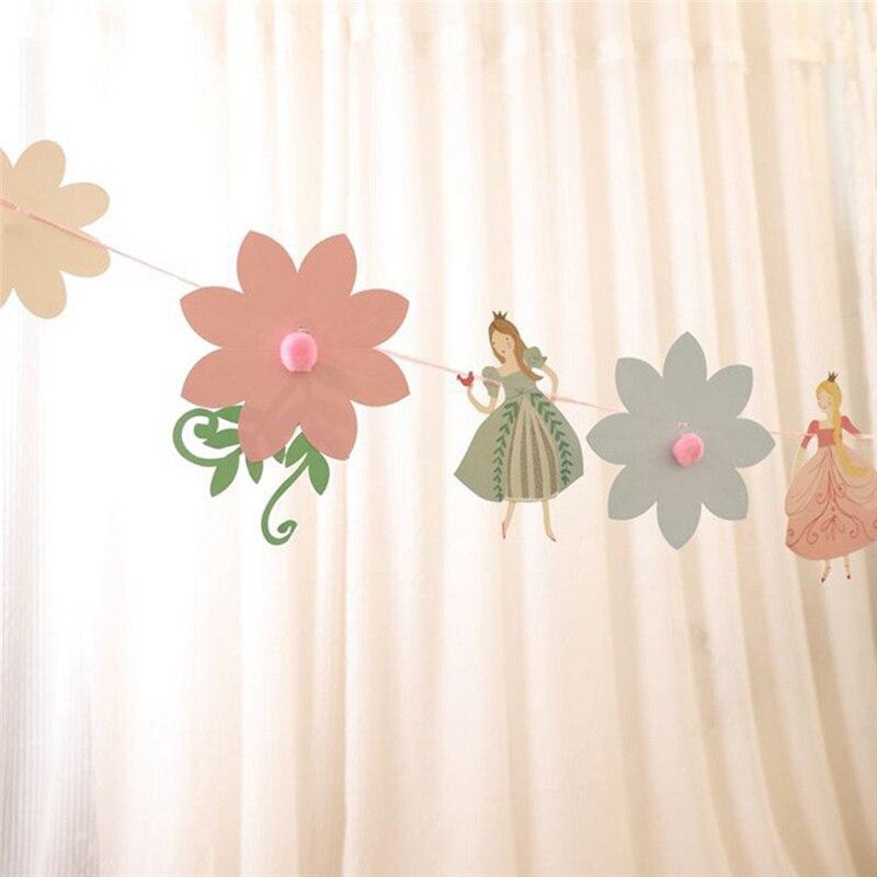 Цветочная Феи баннер Бумажная гирлянда для дня рождения танцевальная принцесса Бантинг детский душ девушки любимые украшения поставки