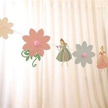 Flor de fadas banner papel guirlanda para festa aniversário dança princesa bunting chá de fraldas meninas favorito decoração suprimentos