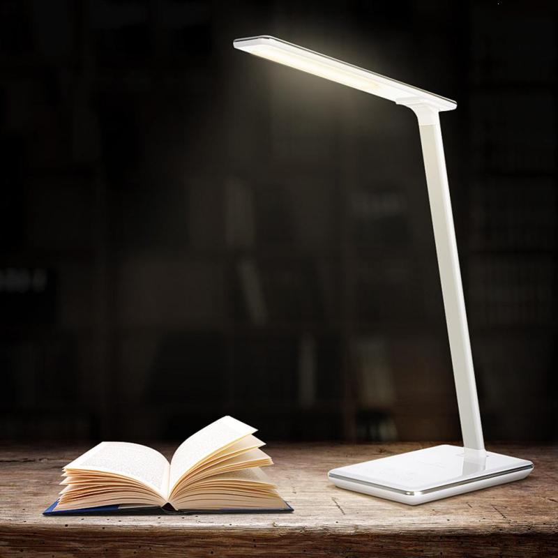 LED Desk Table Lamp Folding Light With Wireless Desktop Charger USB Smart Adjustable Eye Protection Night Book Lights Z4 white rotating rechargeable led talbe lamp usb micro charging eye protection night light dimmerable bedsides luminaria de mesa