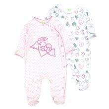 2 יח\חבילה יילוד תינוק בנות בגדים חמוד קריקטורה סרבל 0 12Months ארוך שרוול דה bebe Infantil תלבושות בגדי תינוקות