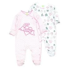 2 PCS/LOT Newborn Baby Girls Clothing Cute Cartoon Jumpsuit 0 12Months Long Sleeve de bebe Infantil Costumes Baby Clothes