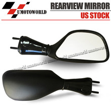 Universal Motorcycle Aluminum Rear View Black Handle Bar End Side Rearview Mirrors For Kawasaki ZX6R 98-02 ZX9R 98-03 650R 06-08