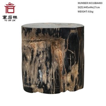Black and Tan Polished Natural Petrified Wood Stool End Table Side Table Modern Countryside Style Home Furniture Garden Decors end table