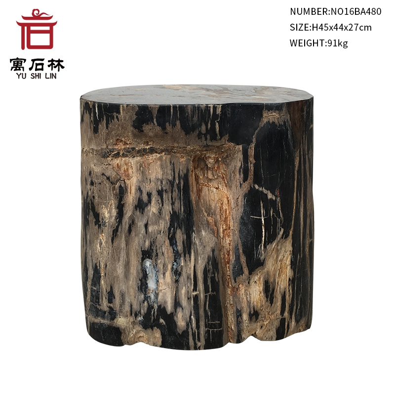Black and Tan Polished Natural Petrified Wood Stool End Table Side Table Modern Countryside Style Home