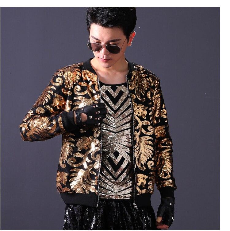 2019 mode Design or argent paillettes veste hommes Sequin manteau marée mâle discothèque vêtements Hip Hop Rock DJ danseur scène Costume - 4