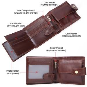Image 4 - MISFITS cowhide men short wallet brand fashion purse with coin pocket 100% genuine leather credit card holder money bag for male