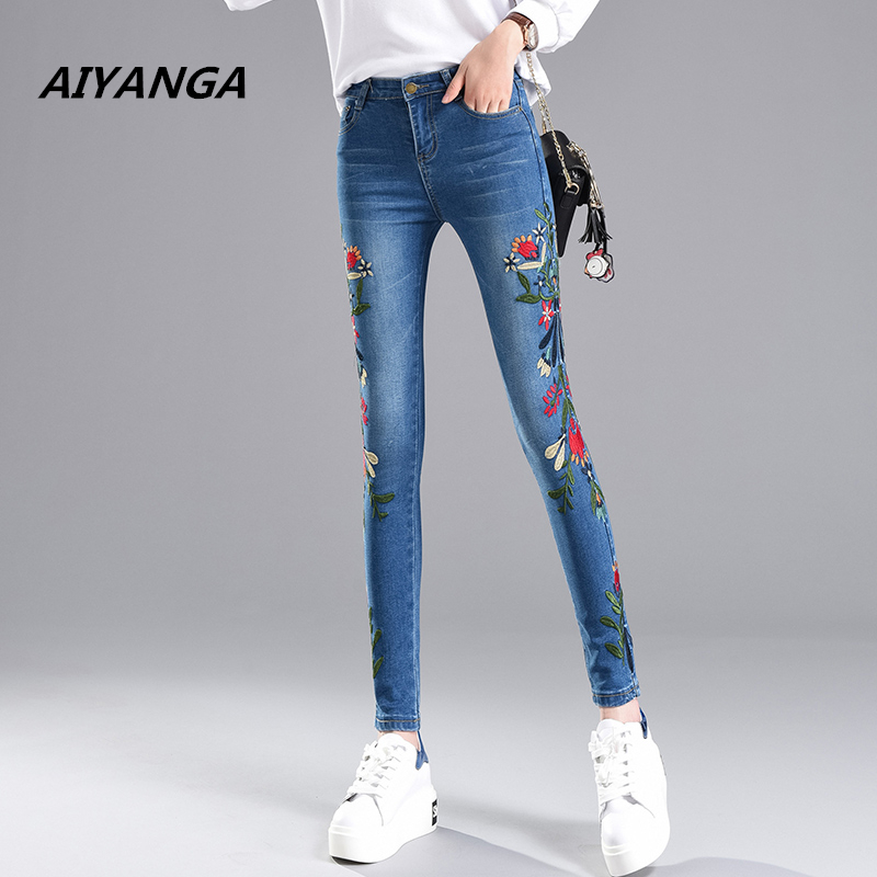 Vintage 2017 autumn new embroidery jeans for women ankle-length pencil pants slim skinny Elasticity denim trousers female 2017 spring new women sweet floral embroidery pastoralism denim jeans pockets ankle length pants ladies casual trouse top118