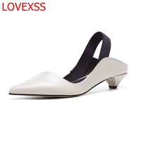LOVEXSS Fashion Pointed Sandals Wild Thick With Women S Shoes Leather Retro Style Temperament Office Comfortable