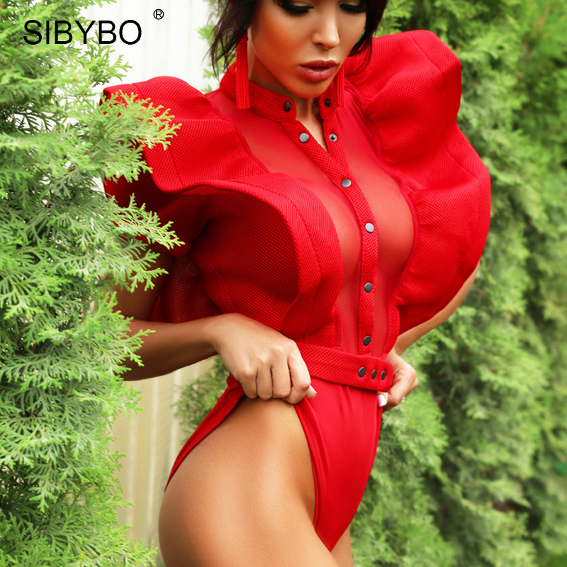 Sibybo Black Ruffles Bodysuit 2020 Summer Hollow Out Combinaison Rompers Women Sexy Mesh Bodycon Overalls Female Party Body Tops
