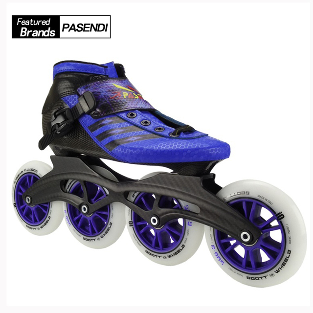 PASENDI Professional Kids Inline Mens Speed Skate Adults Roller Skate Boots  Speed Skating Shoes Big Round 4 wheels 1f47286fb