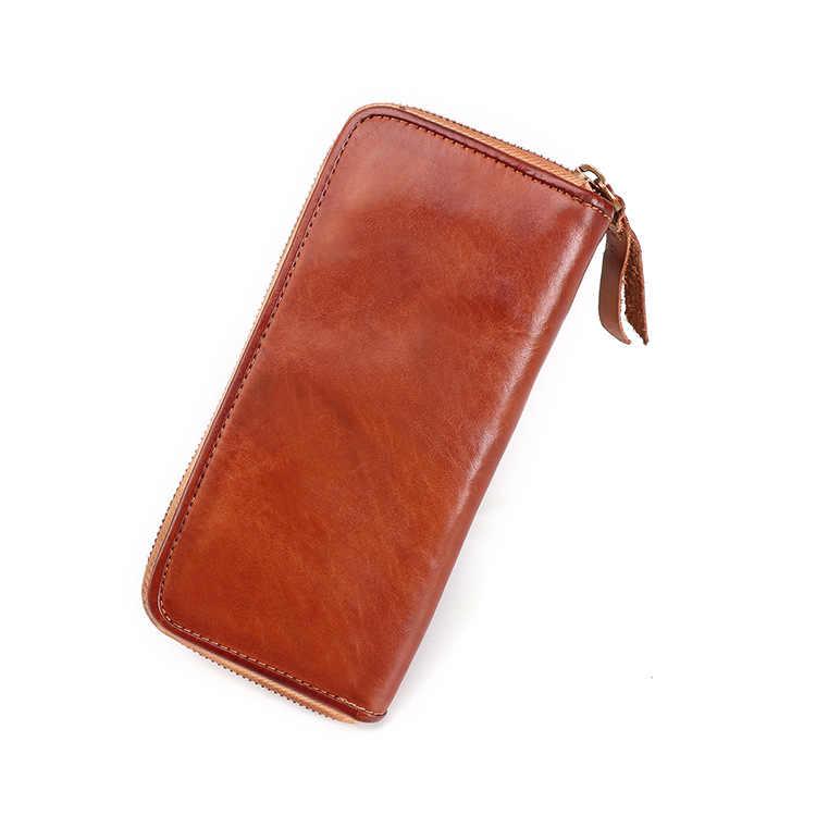 Бизнес Ретро мужской кошелек из натуральной кожи мульти-карты клатч, сумка растительного дубления ручной работы кошельки большие мужские бумажники