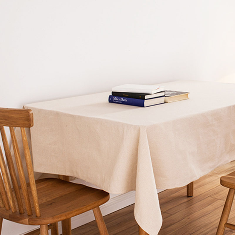 Beige linen tablecloth japan style white cotton linen for White cotton table cloth