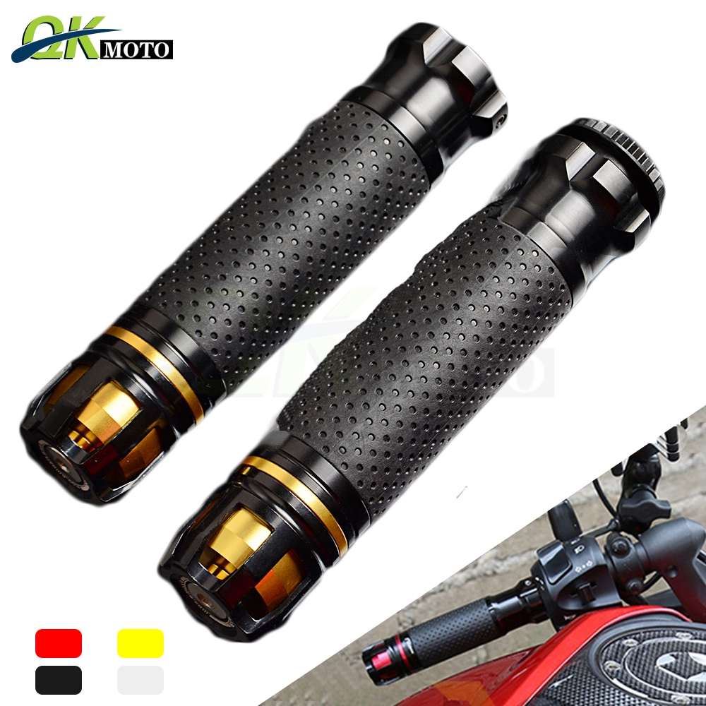 1 Pair Motorcycle Handlebar CNC Aluminum Rubber Gel Hand Grips 22mm 7/8