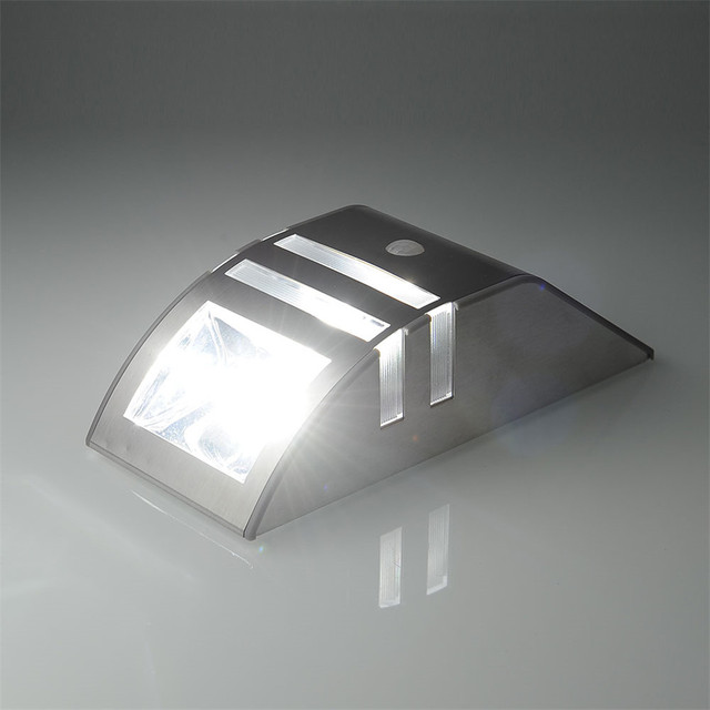 1X Silver Led Solar Wall Light PIR Motion Sensor Garden Lights Wall Motion PIR Lamp, Durable Stainless Steel Solar Wall Lamp
