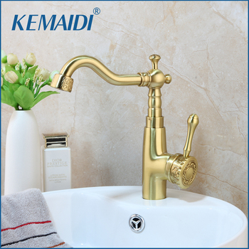 KEMAIDI New Brushed Gold Brass Bathroom Faucets Deck Mounted Basin Sink Faucet Mixer Tap Single Handle High quality