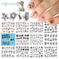 12 Type Nail Art Sticker Ink Flower Leaf Design Water Tranfer Nail Sticker Beauty Charms for Nail Accessories BN1213-1224 2019