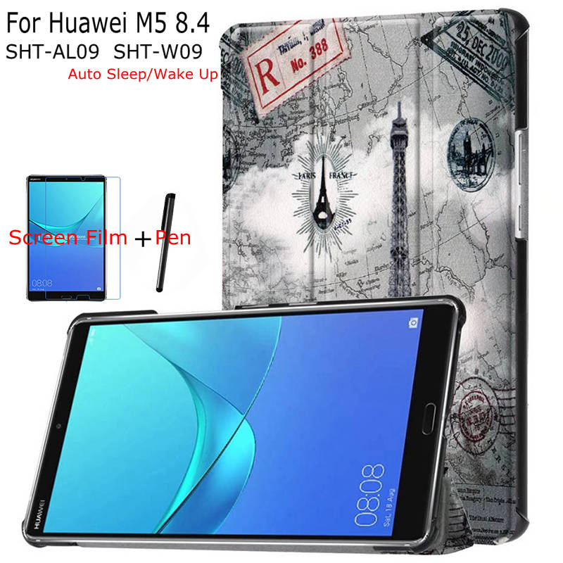 iBuyiWin Stand Magnetic Smart PU Leather Case for Huawei Mediapad M5 8.4 Tablet Funda Cover With Auto Sleep/Wake Up+Film+Pen
