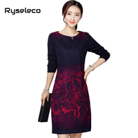 Women Vintage 2017 Winter Wool Floral Prints Patches Knit Long Sleeve Casual Dresses Female Super Large Plus size Basic Vestidos