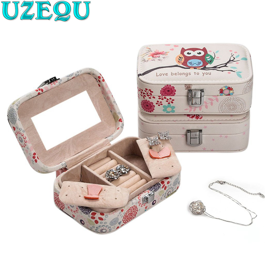 Owl Pattern Portable jewelry case packing PU Leather Jewelry Box Makeup organizer Cosmetic box&Mirror travel earring Ring casket makeup organizer box