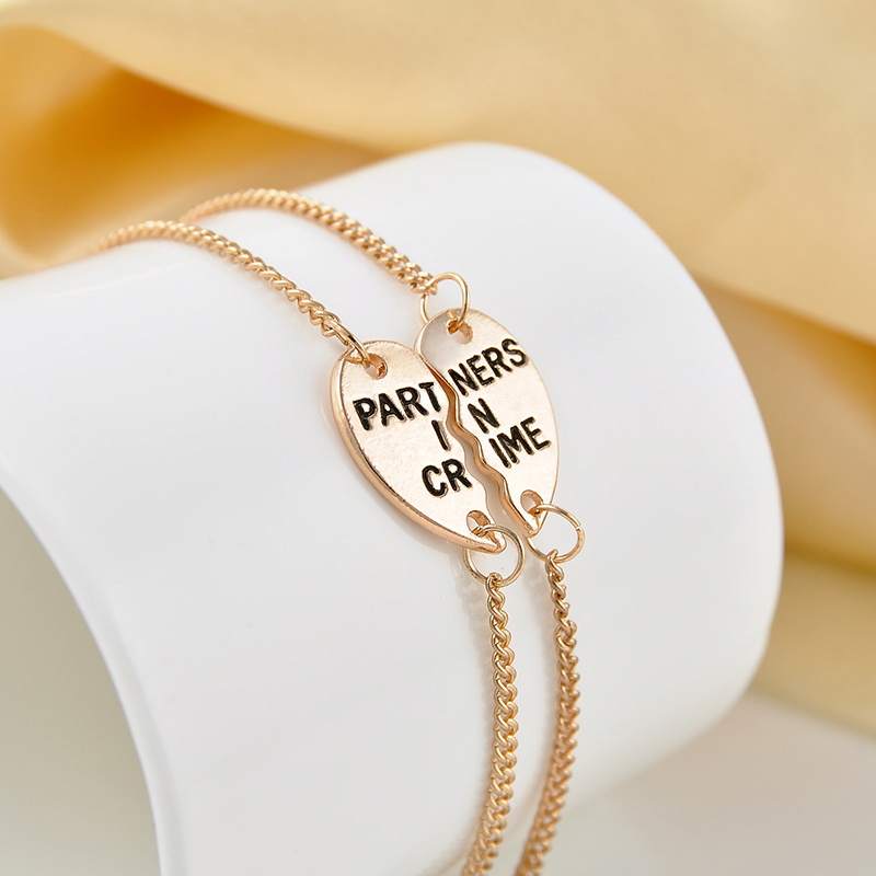 Popular Charm Bracelets 2: Europe Style Partners In Crime Letter Hearts Alloy