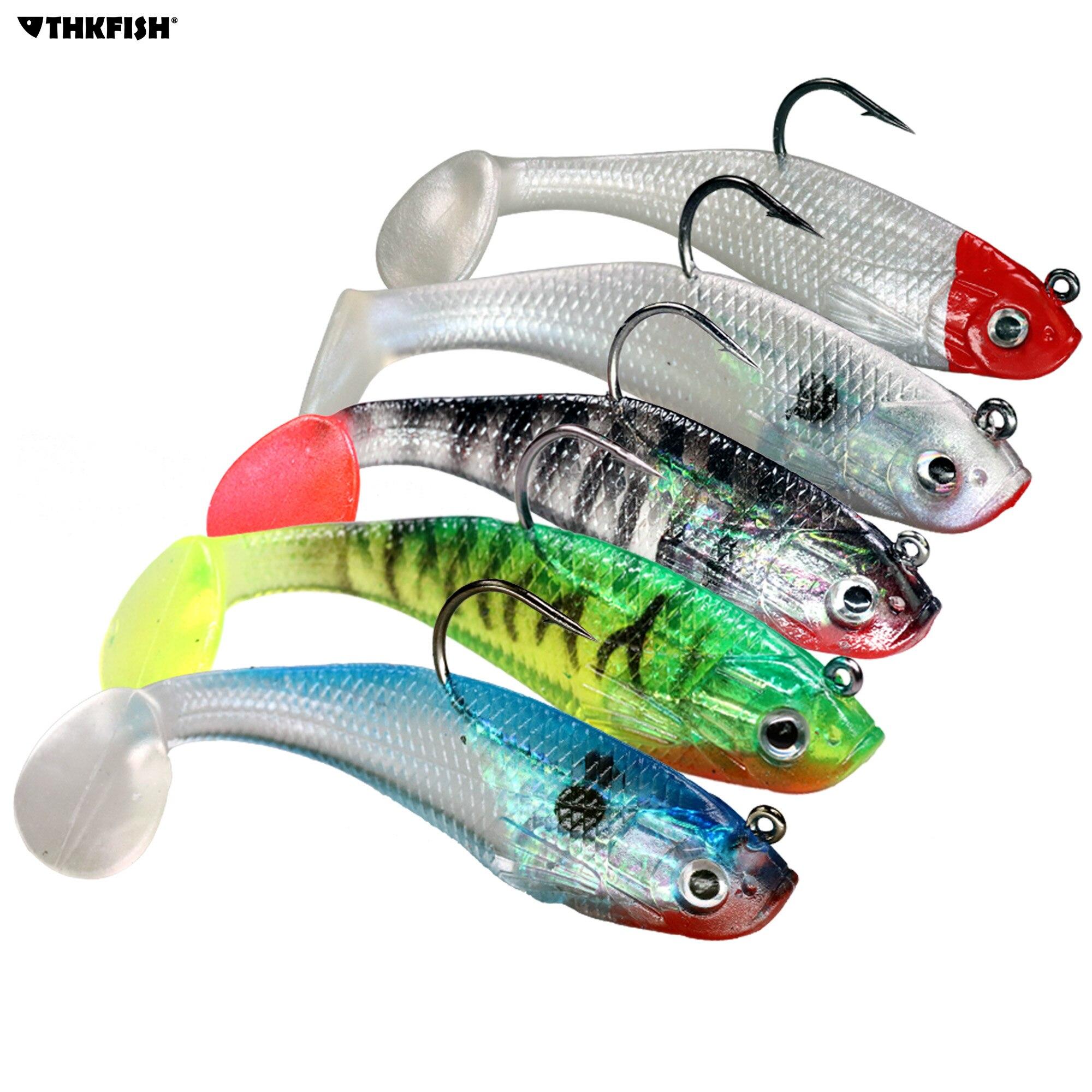 30Pcs T-Tail Soft Fishing Lure Bassbait Saltwater Swimbait Fish Bait Accessorie