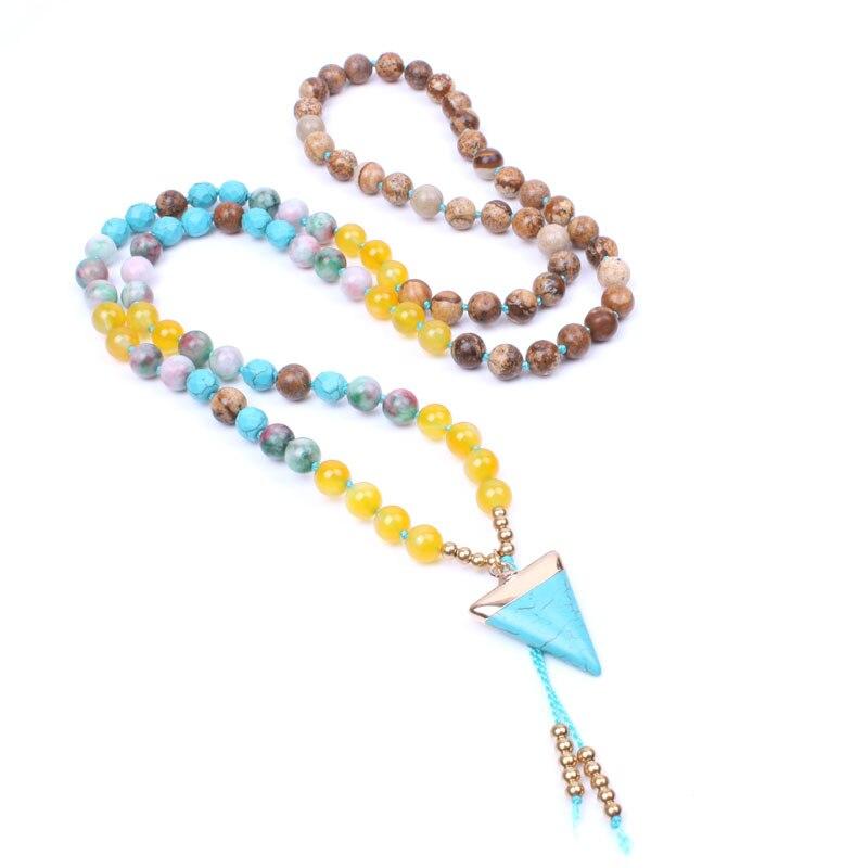 Bohemia de moda Con Cuentas Collar largo de Oro chapado geométrica Howlite Colgante de cuerda collar de cadena de piedra Natural para las mujeres
