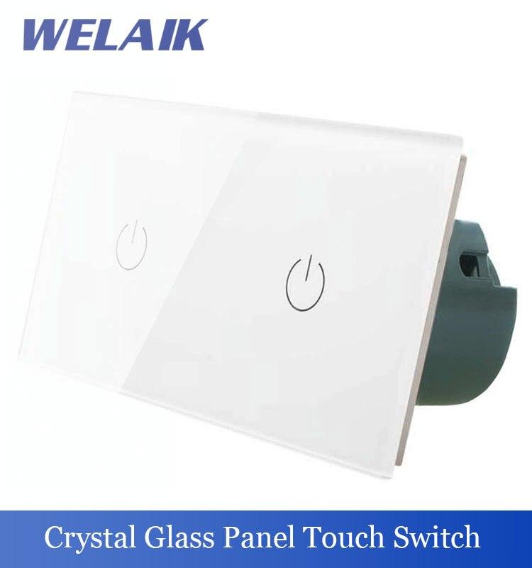 ФОТО WELAIK 2Frame Touch Switch Screen Crystal Glass Panel Switch EU Wall Switch  Light Switch  1gang1way+1gang1way A291111W/B