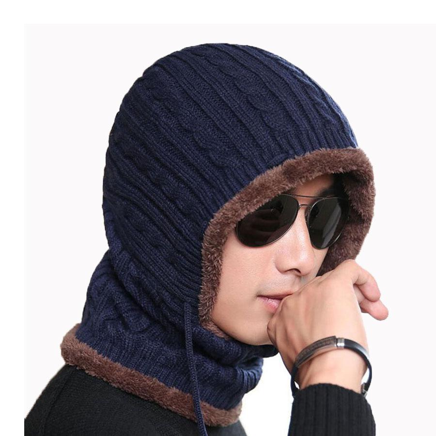 Adult Winter Hat And Scarf Set For Women Men Hooded Cap Scarves Adjustable Knitted Beanies Skullies Bonnet Mask Neck Warm Sets