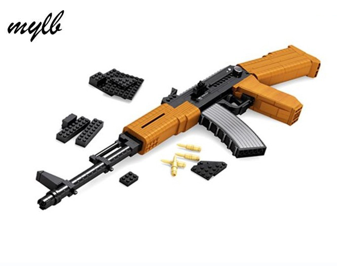 mylb Hot sale Classic toys weapon AK 47 Gun Model 1:1 Toys Building Blocks Sets 617pcs Educational DIY Assemblage Bricks Toy [yamala]military firewire blocks soldier war weapon bricks building blocks sets classic airman toys for children diy heavy gun
