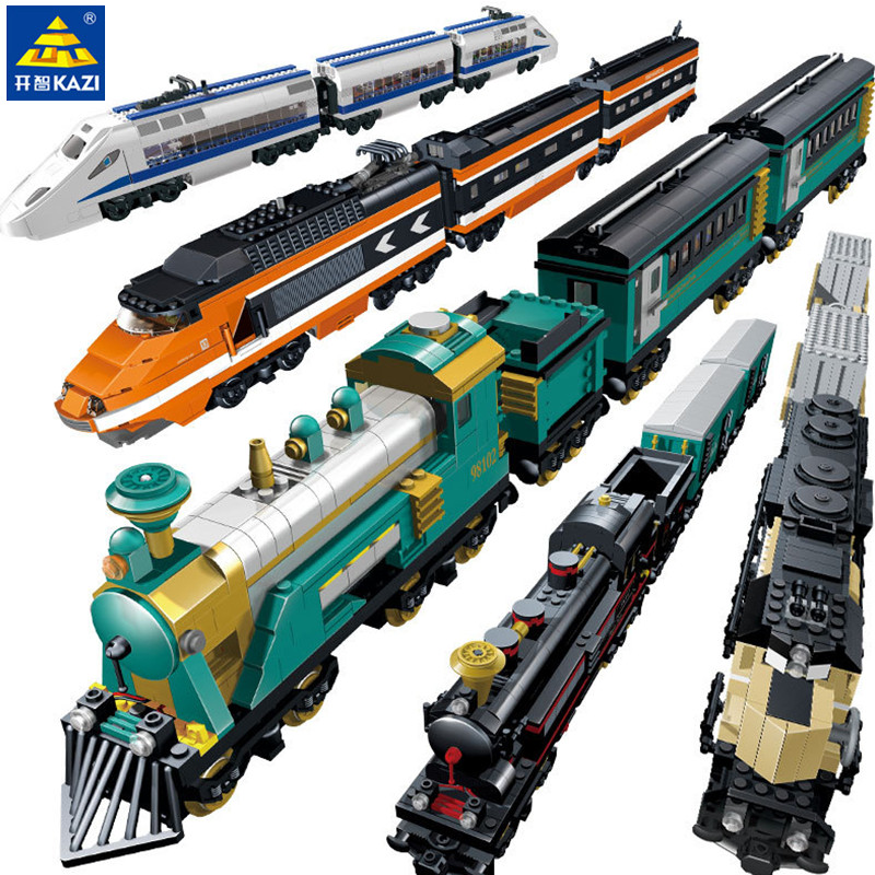 KAZI Battery Powered Maersk Train Container Train Diesel-electric Freight Compatible LegoING City Train Building Blocks Sets Toy