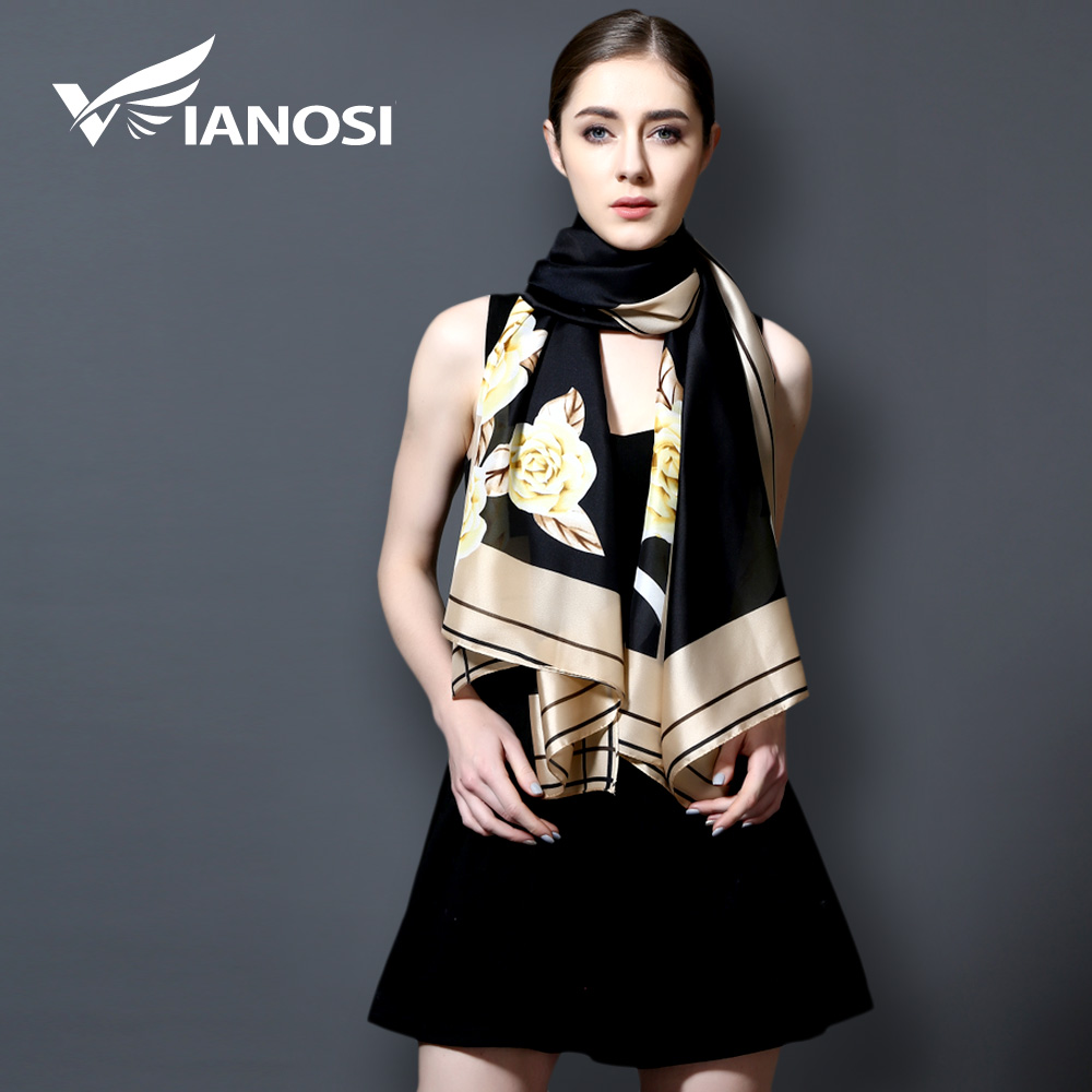 [VIANOSI] Fashion Bandana Long Shawls Gold Printing Silk Scarf Luxury Brand Scarves Women Scarf With Beach VA100