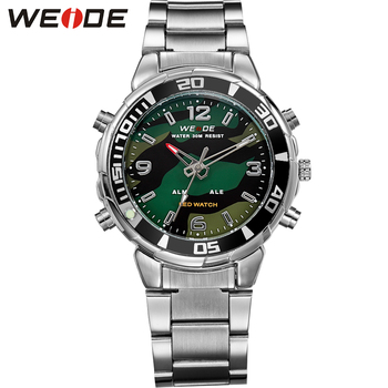 WEIDE Mens Sports Army Stopwatch Steel Strap Quartz Military LED Alarm Luminous Analog Digital Wristwatches relogios masculino weide wh 1009 br stainless steel analog led digital quartz waterproof wrist watch black red