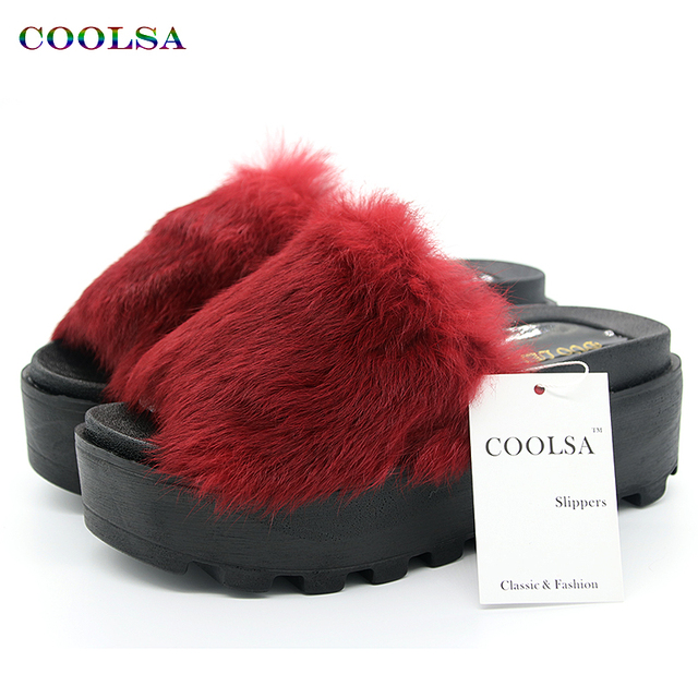 New Summer Plush Women Fluffy Slippers Flat Non-slip Animal Fur Feather Slides Home Flip Flop Rabbit Lady Casual Heighten Shoes